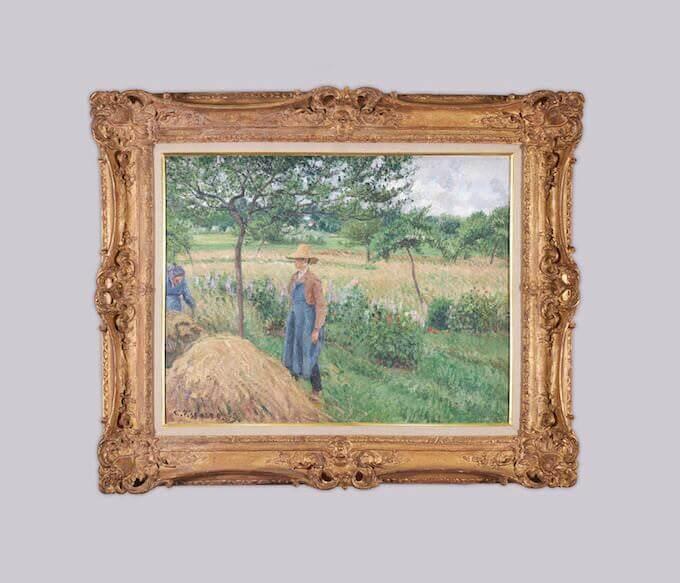 Pissarro, Giardiniere davanti a un covone, tempo grigio, Éragny