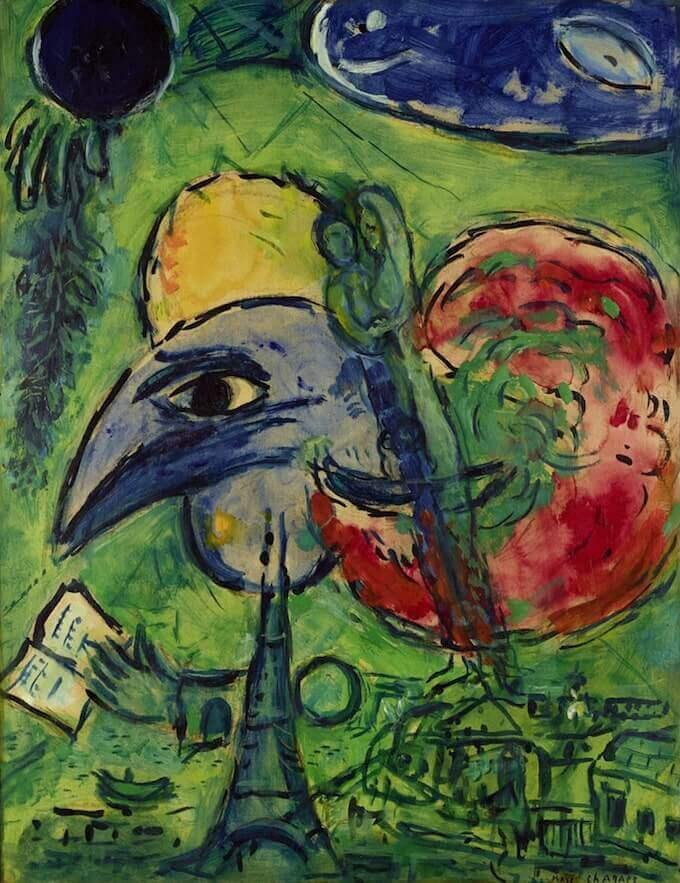 """Marc Chagall, """"Etude pour Les boulevards"""" ou """"Paris fantastique"""" (1953-1954 circa). Collezione privata © MAP Foto: Mathieu Bernard-Reymond"""