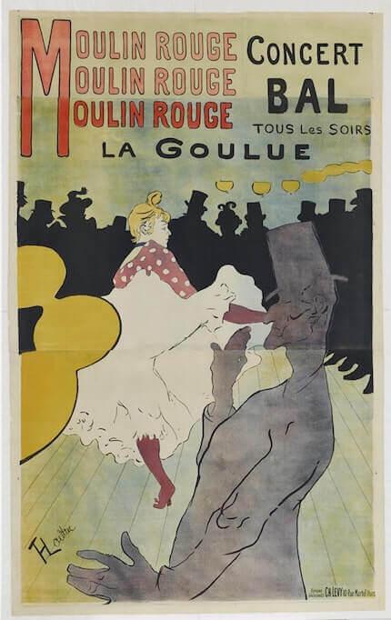 Henri de Toulouse-Lautrec, Moulin rouge - La Goulue, 1891. Litografia 167 x 118 cm (immagine), 175 x 125 cm (foglio). Collezione privata © MAP - Foto: Mathieu Bernard-Reymond