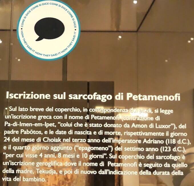 Una didascalia nel Museo Egizio di Torino