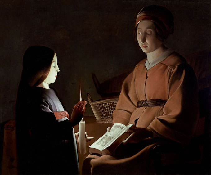 Georges de La Tour (studio) Educazione della Vergine, 1650 ca. Olio su tela, 83,8 x 100,3 cm The Frick Collection, New York, Stati Uniti