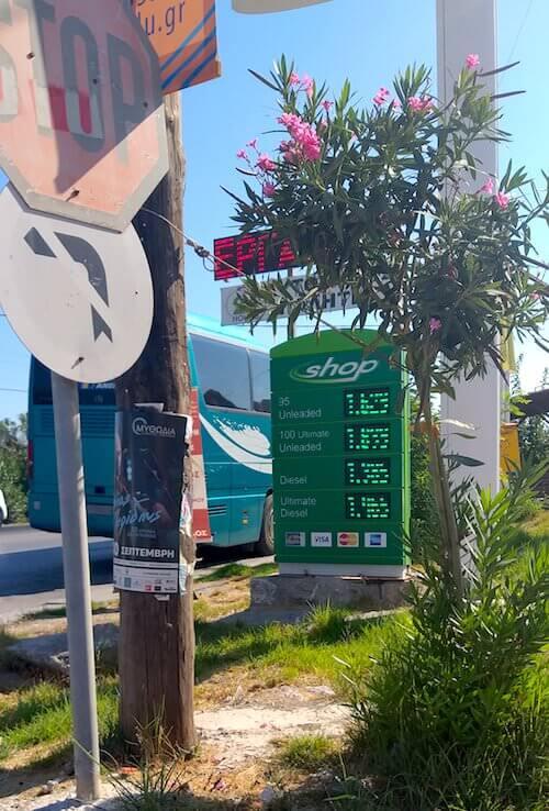 Prezzi della benzina di un distributore a Creta