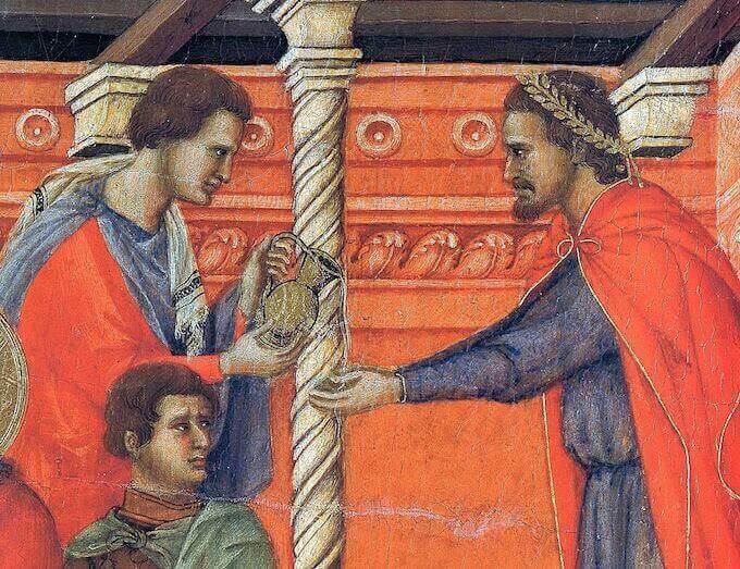 """Ponzio Pilato si lava le mani: particolare della """"Maestà"""" di Duccio da Buoninsegna"""