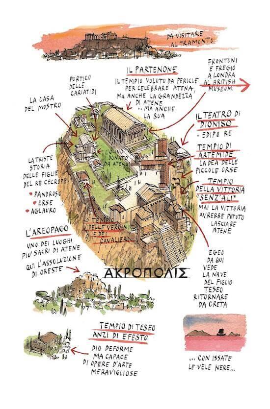 """Acropoli di Atene: illustrazione di Michele Tranquillini per """"In viaggio con gli dei"""" di Guidorizzi e Romani, Raffaello Cortina"""