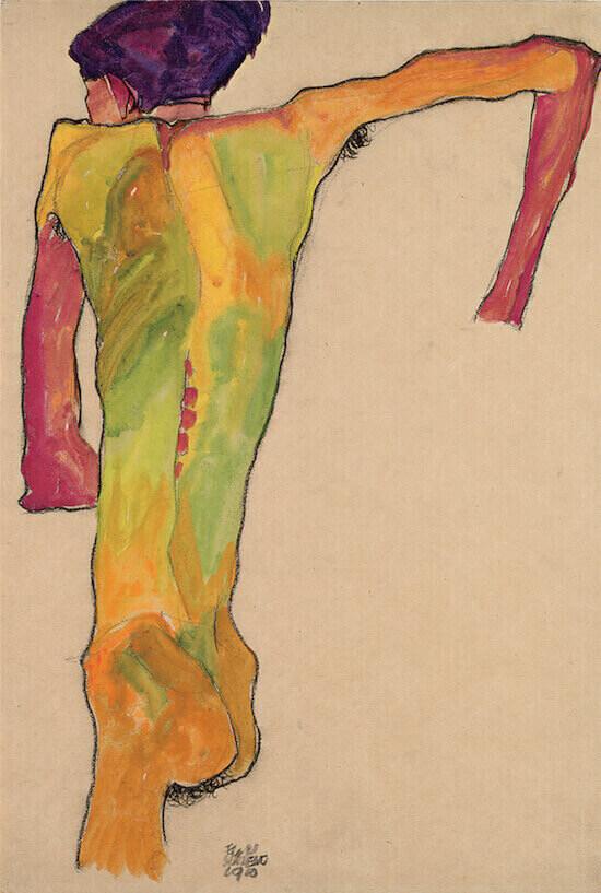 Egon Schiele Nudo di schiena, appoggiato sulle braccia (1910) Mina di piombo, matita nera e gouache su carta, 45 × 30,7 cm Vienna, Leopold Museum Foto: © Leopold Museum, Wien/Manfred