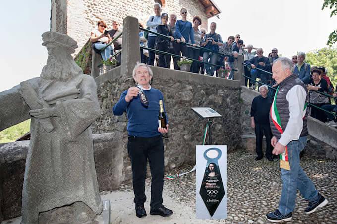 Inaugurazione della statua di Leonardo al Santuario della Rocchetta