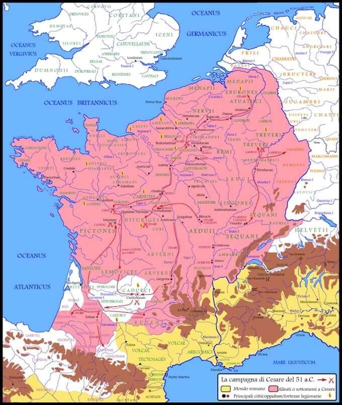 La campagna finale di Cesare del 51 a.C., e la definitiva sottomissione della Gallia