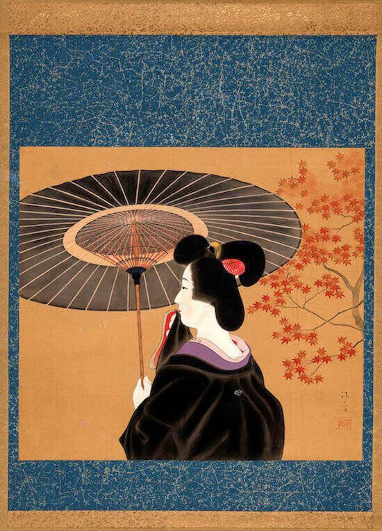 Kaburagi Kiyokata (1878-1972), Una geisha con parasole, sotto un acero con foglie autunnali. 1920-1939. Dipinto a inchiostro e colori su seta 45,7×50,9 cm Collezione Perino © 2020 MUSEC/Fondazione culture e musei, Lugano