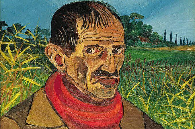 Antonio Ligabue, Autoritratto con sciarpa rossa, 1958