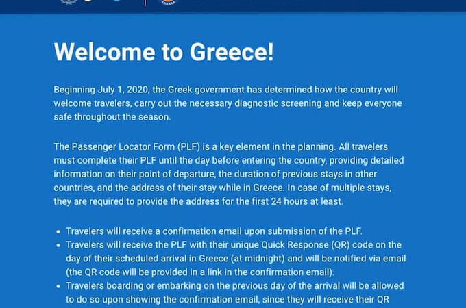 The Passenger Locator Form PLF per l'ingresso in Grecia