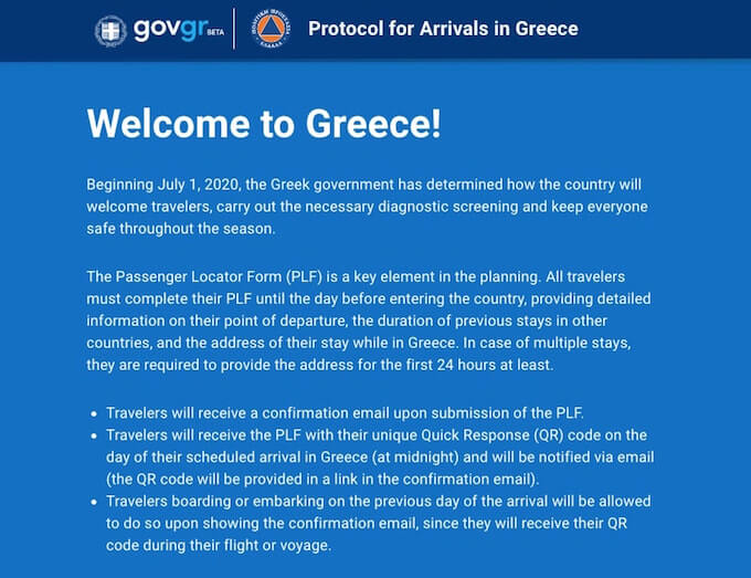 The Passenger Locator Form PLF per l'ingresso in Grecia