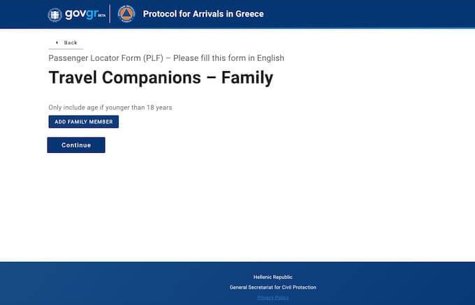 Modulo PLF per l'ingresso in Grecia: la scheda riservata ai figli minorenni