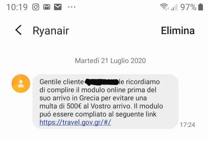 SMS di Ryanair riguardante la compilazione del PLF per l'ingresso in Grecia