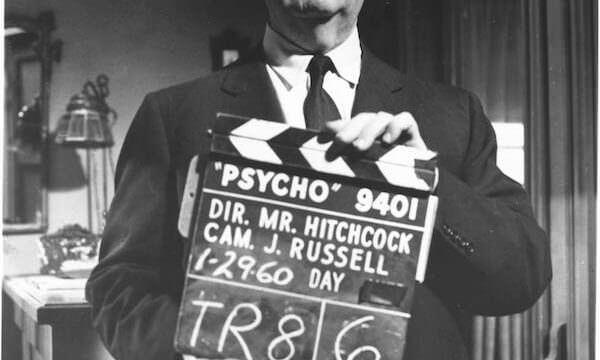 Alfred Hitchcock sul set di Psycho