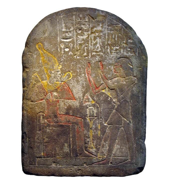 Stele in calcare inciso e dipinto del capo dei Medjai, Amen-em-inet