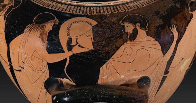 Stamnos del Pittore della Dokimasia: i Greci discutono sulle armi di Achille