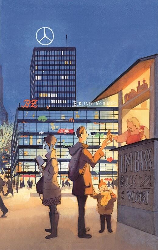 """Un'illustrazione di Manuele Fior per """"Vagabondare a Berlino"""" di Gian Piero Piretto"""