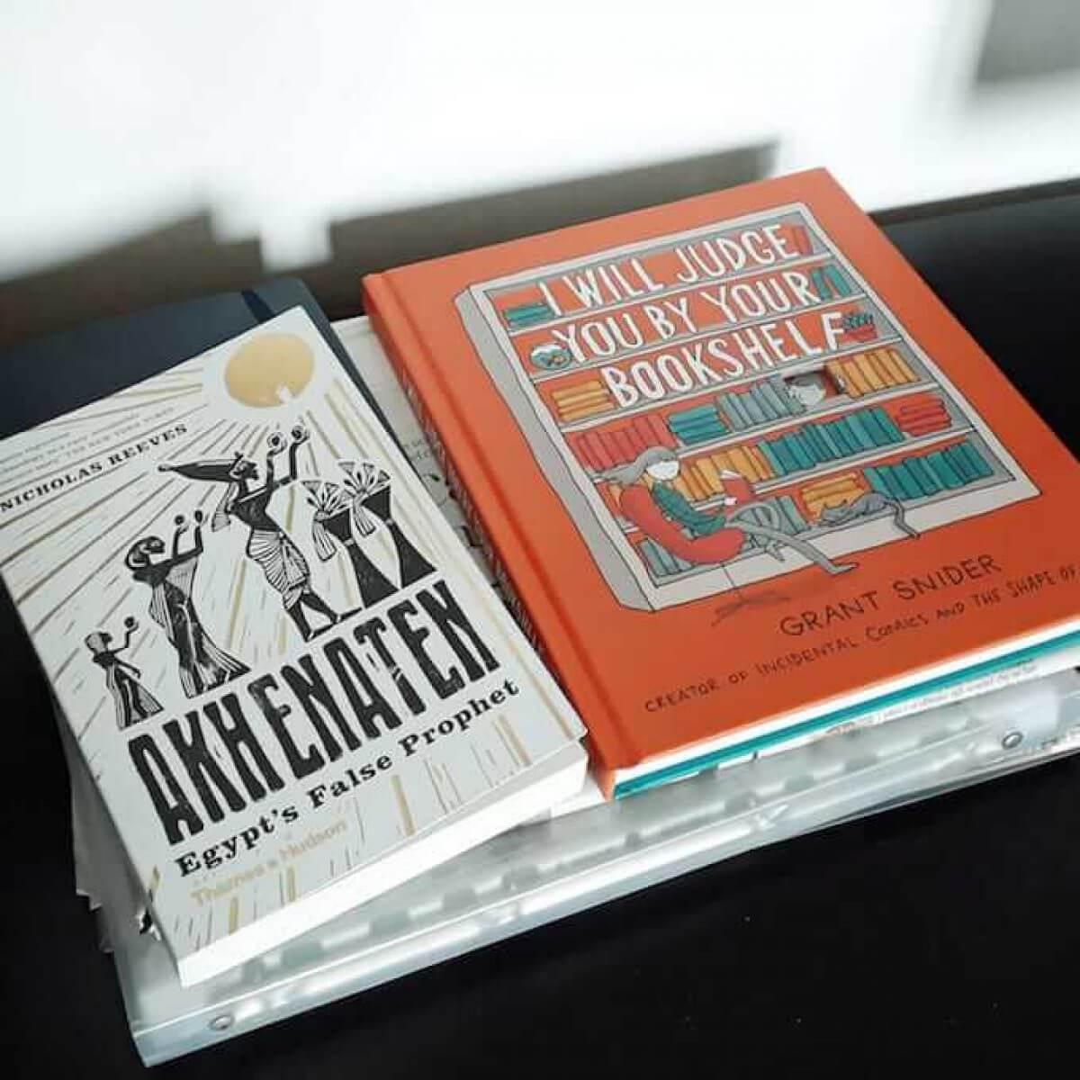 Nicholas Reeves, Akhenaten - Grant Snider, I will judge you by your bookshelf
