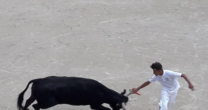 Un momento di una corrida nell'arena di Arles