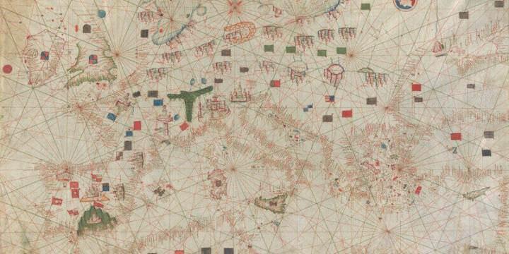 Carta nautica del Mediterraneo in pergamena dipinta (XV secolo)