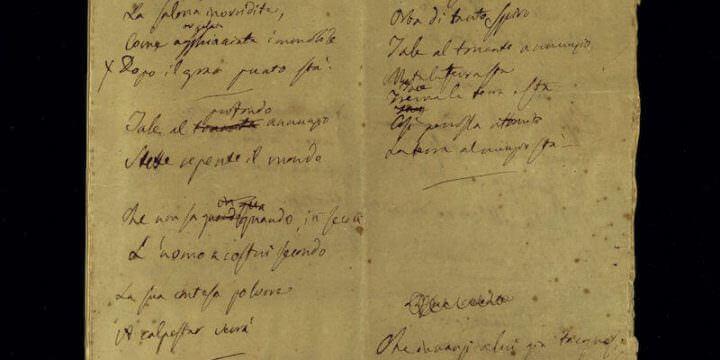 Prima carta della minuta autografa del 5 maggio di Alessandro Manzoni. Biblioteca Nazionale Braidense