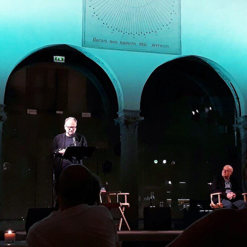 """Massimo Popolizio e Mino Petazzini alla presentazione dell'antologia """"La poesia degli alberi"""""""