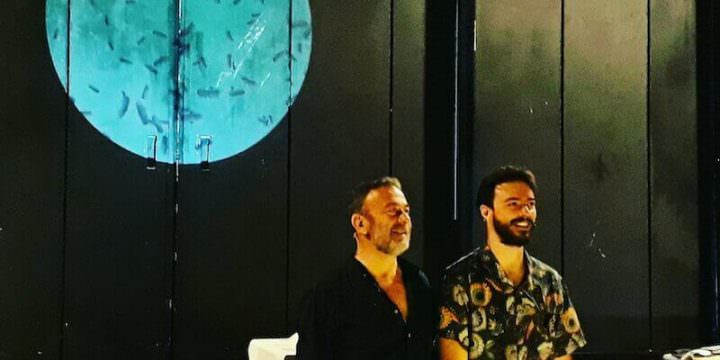 """Stefano Braschi e Nicolò Valandro al termine de """"La storia della colonna infame"""" al Teatro Fontana di Milano"""