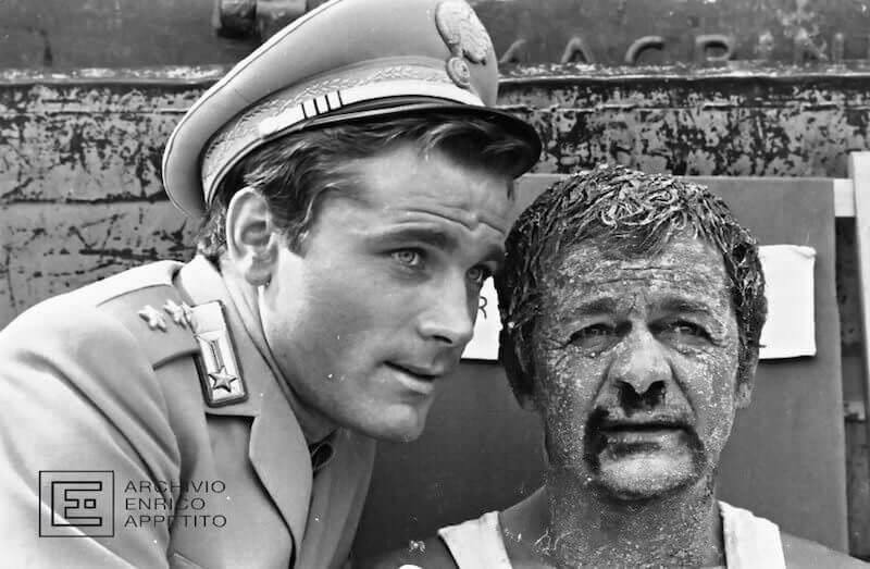 """Enrico Appetito, Franco Nero sul set del film """"Il giorno della civetta"""""""