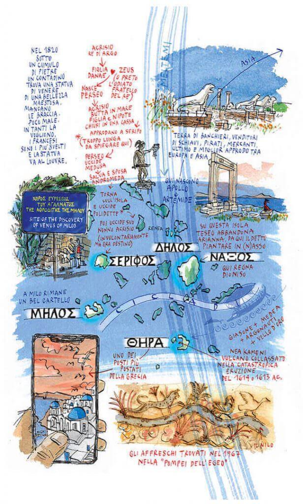 """Michele Tranquillini, Delo e Santorini (da """"Il mare degli dei"""")"""