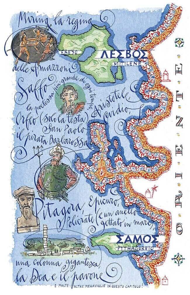 """Lesbo e Samo, illustrazione di Michele Tranquillini per """"Il mare degli dei"""" di Giulio Guidorizzi e Silvia Romani, Raffaello Cortina Editore"""