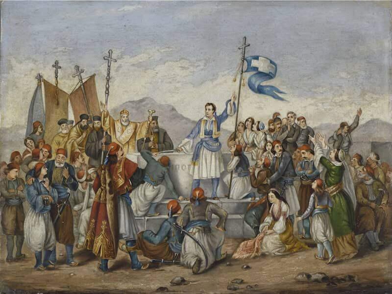 Artista anonimo, Il giuramento di Lord Byron a Missolungi. Olio su tela, 16x19 cm, Museo Benaki, copia dell'opera di Ludovico Lipparini (1802–1856).